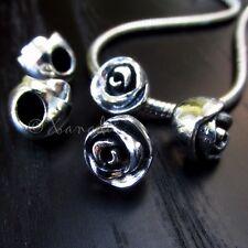 10PCs Wholesale Flower European Beads - Floral Spacers For Charm Bracelets