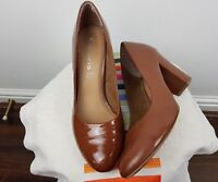 Tamaris Tan Brown Leather Round Toe Block heels Shoes Size 40 UK 7