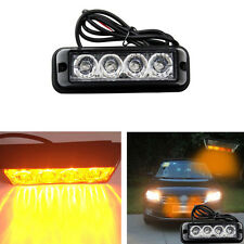 12/24V 4 LED Auto Car Amber/Gelb Flash Licht Bar Warnung Leuchten Strobe Lampen