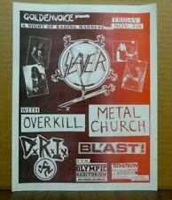 Original 1980's Punk Thrash Metal Concert Flyer SLAYER Overkill D.R.I. + FANZINE