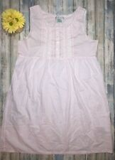 Vintage Laura Ashley 100% Cotton Pink White Lace Trim Dress Buttons Size Large