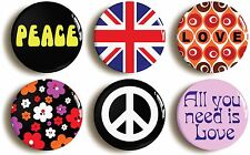 6 x SIXTIES FANCY DRESS BADGES BUTTONS PINS (1inch/25mm diameter) 1960s HIPPIE