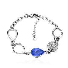 élégant SAPHIR / Royal Bleu Larme en crystal faux-diamants Bracelet argenté