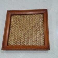 Vintage Mango Wood Bamboo Woven Tray Glass Thai Handcraft Serving Spa Supplies