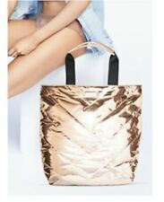 46ceafcac9 Victoria Secret VS Rose Gold Metallic Quilted Travel Weekender Tote Bag NEW