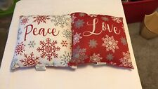 Holiday Time Set Of 2 Red/white/silver Christmas Accent Pillows