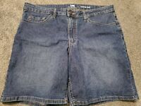 Women's Lee New Mid Rise Bermuda Dark Faded Stretch Blue Jean Shorts Size 16 M