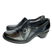 Clarks 38476 Black Leather Womens 9 Med Booties Clog Shoes Heels Ankle Boots