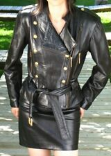 VAKKO BLACK LEATHER   MILITARY SUIT - DB JACKET and  SKIRT-  size  4/6