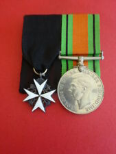More details for order of st john serving brother miniature with defence medal pair