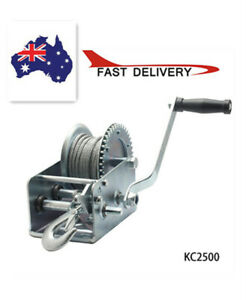 2500LBS Hand Winch ATV Boat Trailer Manual Winch Heavy Duty 10M Steel Cable AU