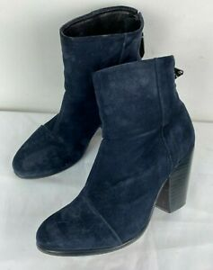 Rag & Bone Newbury Dark Navy Blue Suede Leather Women Boots Booties Shoes Sz 37