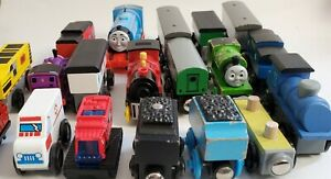 Large Lot Of Thomas & Friends Wooden Railway And Other Wood Trains No Reserve