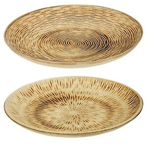 29cm Wooden Rustic Burnt Design Swirl or Star Plate Center Piece Dish Tray