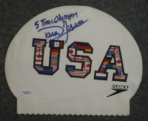 DARA TORRES SIGNED AUTOGRAPHED TEAM USA SWIM CAP      5 OLYMPIC GAMES GOLD JSA