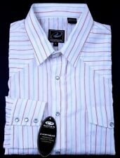 Roper Mens XL L.S. Button Down Pearl Snap Shirt Western White Blue Brown Stripe