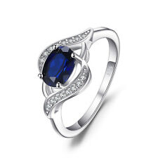 JewelryPalace 1.14ct Created Blue Sapphire Statement Ring 925 Sterling Silver