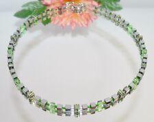 edel elegant Kette Würfel 4mm Hämatit silber glanz Kristall Strass grün  053n