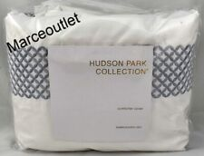 Hudson Park Embroidered Geo Full / Queen Duvet Cover White - Slate Blue