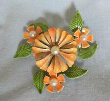 Enameled Cluster of Flowers & Leaves Pin, Pearl Bead Centers