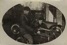 PHOTO ANCIENNE - VINTAGE SNAPSHOT - SIDE CAR MOTO MOTOCYCLETTE MODE - MOTORBIKE