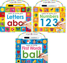 Wipe Clean Learn to Write Letters ABC,Numbers 123 & Words with pens 3 Board Book