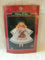 NIP Leisure Arts Counted Cross Stitch 'Angels Bear' Clothespin Ornament