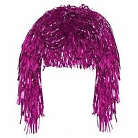 Tinsel Wig Pink  Shiny Metallic Foil 60 70  Fancy Dress Costume Party Accessory