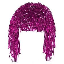 Pink Tinsel Wig Shiny Metallic Foil  Fancy Dress Costume Party  Accessory
