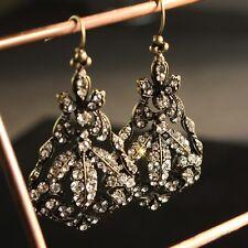 Boucles d'Oreilles Doré Art Deco Chandelier Feuille Filigrane Pavé Mariage X8