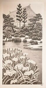 OKUYAMA - IRIS AT RINNOJI TEMPLE - A Genuine Japanese Woodblock Print in vgc.