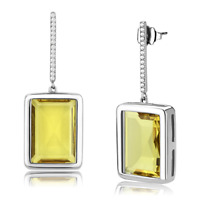 Ladies dangling earrings drop cz stainless steel pave hypo allergenic new  374