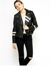 $698 NWT Walter Baker Black Leather Moto Jacket w/ White Perforated Leather Trim