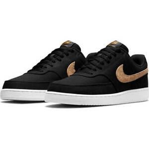 AUTHENTIC NIKE COURT VISION LOW CANVAS Cork Black White Athletic Shoes men size