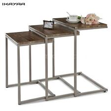 3pcs Metal Stacking Nesting Table Set Sofa End Coffee Side Accent Tables C2A7
