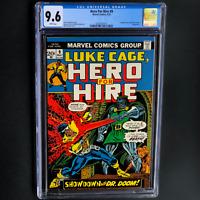 HERO FOR HIRE #9 💥 CGC 9.6 WP 💥 LUKE CAGE DOCTOR DOOM & FANTASTIC FOUR APP!
