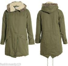 NEW LADIES WOMEN KHAKI FUR HOODED MILITARY FISHTAIL PARKA JACKET 8 10 12 14 16