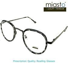 MIASTO ROUND OVAL PREPPY READING GLASSES+2.50 MEDIUM SMALL BLACK TORTOISE(LIGHT)