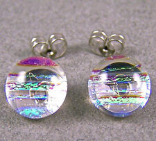 "DICHROIC Earrings Round Clear Yellow Opal Striped Textured Post 1/4"" 7mm STUDS"