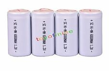 4x White High Power Ni-MH 1.2V 6000mAh Sub C Sub C With Tab Rechargeable Battery
