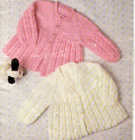 """Baby matinee coats- knitting pattern- fits 16-20"""" 4 ply 2 style to choose"""
