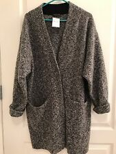 Rag &  Bone $575 Womens Black Wool Blend Slouchy Ribbed Trim Coat Sweater L