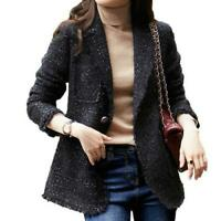 Women's Wool Tweed Jacket Woven Suit Coat One-Button Slim Blazer Formal Party L