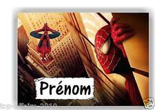 Plaque de porte en ( sur ) bois  Spiderman  avec prénom   N° 133