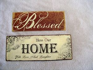 "Pair of metal rustic signs ""Bless Our Home With Love And Laughter"" and ""Blessed"""