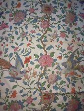 ancien tissu french textile ameublemen imprimé coton oiseau fleur indienne arbre