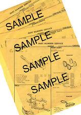 1964 CHEVROLET IMPALA BEL AIR BISCAYNE 64 ORIGINAL BODY PART NUMBER LIST SHEETS!