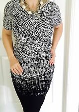 CAPTURE WOMENS DRESS ELASTANE BLEND BLACK WHITE WORK PARTY SZ 12