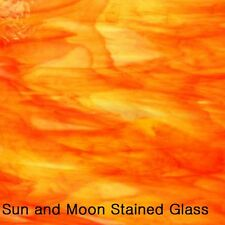 "Spectrum Glass Sheet S6076-83CC - Clear, White, Orange, Yellow, ""Inferno"" (8X10)"