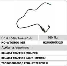 Renault Trafic II 2.0 DCI Fuel Pipe 8200505325